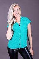 Блузка 215 зеленая в горошек