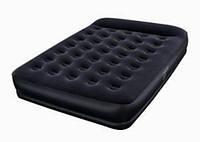 Велюр-кровать BestWay 67457 черная с подголовником, с насосом 220V KHT/05-46