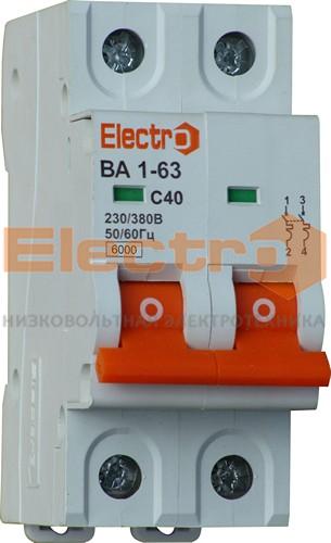 "Автоматические выключатели ВА 1-63, 6,0 кА(!),2п, C, ТМ ""Electro"", НОВИНКА!"