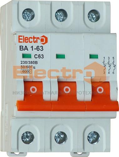 "Автоматические выключатели ВА 1-63, 6,0 кА(!),3п, C, ТМ ""Electro"", НОВИНКА!"