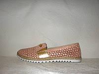 Балетки женские модные натуральная кожа розового цвета перфорация