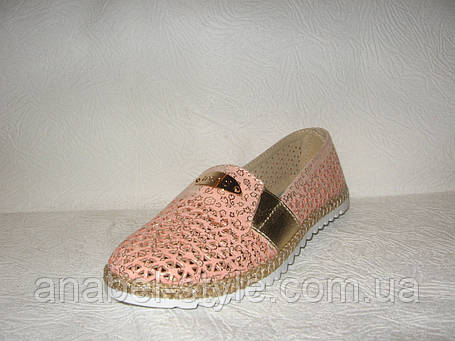 Балетки женские модные натуральная кожа розового цвета перфорация, фото 2
