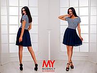 Платье трикотажное двуцветное морячка с коротким рукавом 3248 Норма! (НАТ)