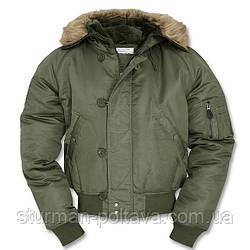 Куртка чоловіча зимова коротка Аляски N2B Mil-Tec колір олива Німеччина