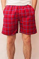 Мужские летние шорты красные (клетка)