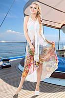 Пляжное Платье-Сарафан со Шлейфом Шифон Цветочный Принт на Белом Фоне р. S-XL