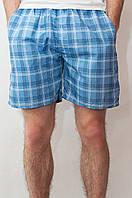 Мужские летние шорты голубые (клетка)