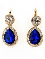 Серьги, синий камень, английская застежка