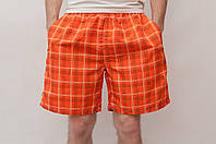 Мужские летние шорты оранжевые (клетка)