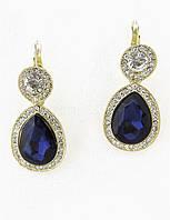 Серьги, темно-синий камень, английская застежка