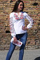 """Жіноча вишиванка """"Квітковий орнамент"""" (червона вишивка) ТМ Діброва"""