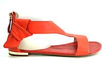 Босоножки женские Basconi караловые из натуральной кожи без каблука, женские босоножки