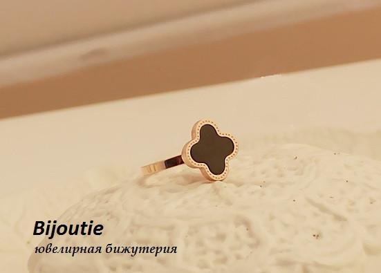Кольцо LOUIS VUITTON ювелирная бижутерия золото 14К декор чёрная эмаль