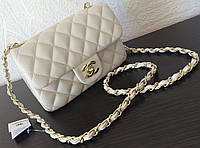 Сумка chanel mini flap 2.55 беж
