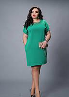 Платье больших размеров с гипюром бирюза, р 52-54,54-56,56-58