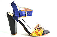 Босоножки женские D.Bigioni желто-синее из натуральной кожи на каблуке,женские босоножки