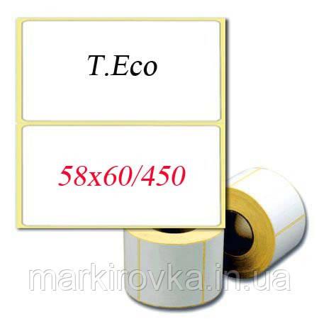 Термоэтикетка T.Eco 58х60мм(ШхВ). 450 шт/рулон. Скидки при заказе от 10 рулонов.