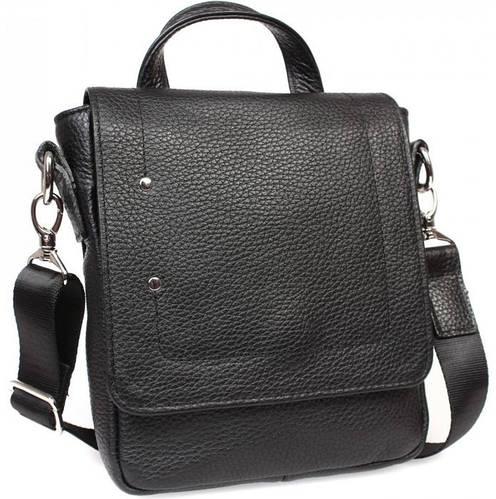 Функциональная мужская кожаная сумка с ручкой и плечевым ремнем, черная Alvi av-40-5187