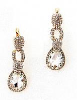Серьги, серебристый кристалл в сияющих камнях, английская застежка