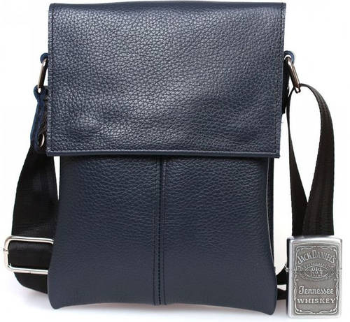 Мобильная кожаная сумка для документов через плечо, синяя Alvi av-140blue
