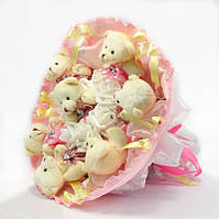 Букет из игрушек Мишки 7 бело-розовый