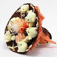 Букет из игрушек Мишки 6 бело-персиковый