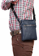 Кожаная сумка-планшетка синего цвета на плечо Alvi av-97blue