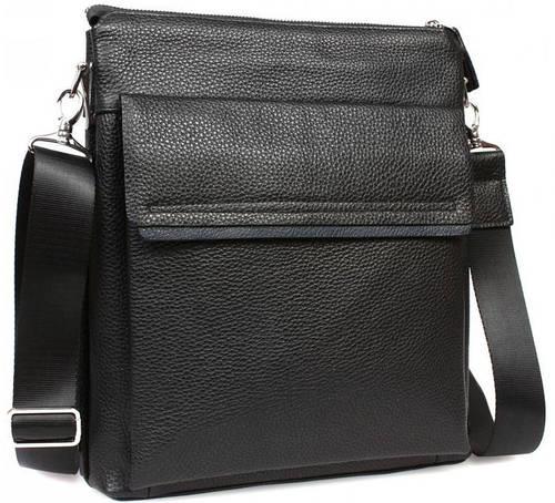 """Стильная кожаная мужская сумка с отделением для планшета 11"""", черная Alvi av-2-3917А"""