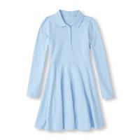 Школьное платье поло с длинным рукавом