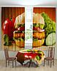 Фотошторы и скатерть на кухню гамбургер