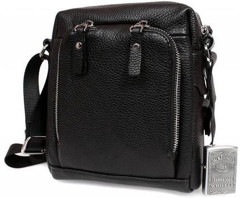 Модная мужская кожаная сумка с накладным карманом, черная Alvi av-5-6006