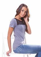 Красивая женская футболка с гипюром (S-3XL в расцветках) серый, XL
