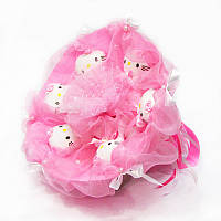 Букет из игрушек Котики 6 нежно-розовый