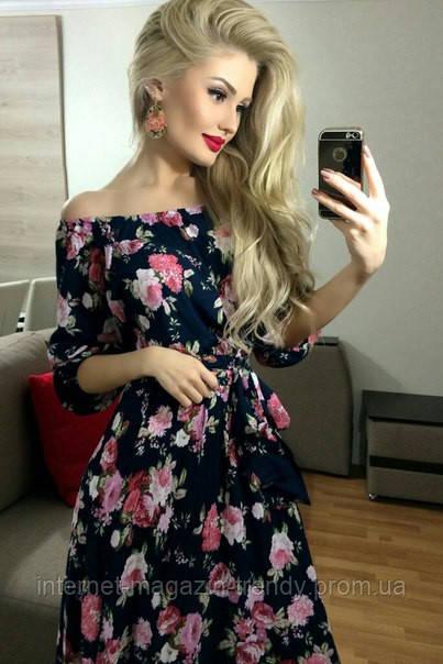 Длинное платье с цветочной расцветкой  1028