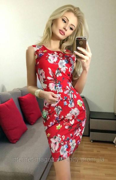 Стильное облегающее  платье в цветочных расцветках 1049