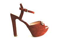 Босоножки женские Gaterinna  рыжие на каблуке,женские босоножки