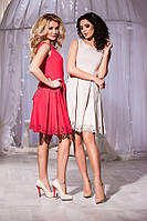 Модное бежевое платье юбка клёш, короткий рукав. Арт-5662/57