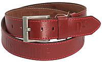 Мужской кожаный ремень под джинсы Skipper 3671-2 Dsquared2 бордовый ДхШ: 136х4,5 см.