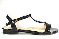 Босоножки женские Toleeao черные лаковые без каблука,женские босоножки