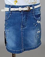 Модная джинсовая юбка для девочек с украшением