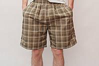 Мужские летние шорты цвета хаки (клетка)