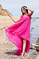 Асимметричное шифоновое платье в малиновом цвете. Арт-5664/57