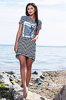 Хлопковое асимметричное платье в чёрно белую полоску с принтом и капюшоном. Арт-5665/57