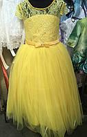 Бальное детское платье желтого цвета