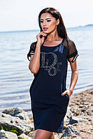Тёмно синее хлопковое платье с кармашиками и принтом. Арт-5670/57