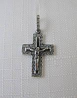 Крест серебряный 925*черненый с распятием и цирконами