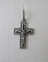 Серебряный крестик черненый с распятием и цирконами, фото 1