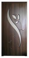 Дверь межкомнатная остекленная Тюльпан (Орех шоколадный)