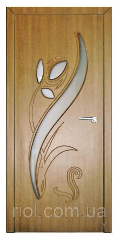 Дверь межкомнатная остекленная Тюльпан (Дуб золотой)