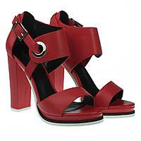 Босоножки женские Angelo Vani (на высоком каблуке, стильные, изысканные, красного цвета)